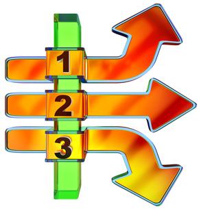 One two three - symbol progress for three stepsの素材 [FYI00759202]