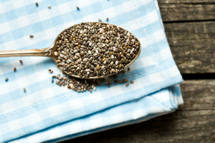 chia seeds in spoonの写真素材 [FYI00759580]