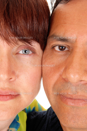 The halve faces of a middle age couple.の写真素材 [FYI00759932]