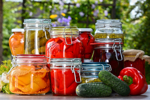 Jars of pickled vegetables and fruits in the gardenの写真素材 [FYI00759945]