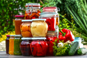 Jars of pickled vegetables and fruits in the gardenの写真素材 [FYI00759959]