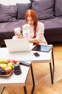 young woman with laptop at home leisureの写真素材 [FYI00760011]