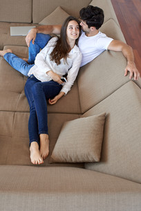 happy young romantic couple have fun and  relax at home indoorsの写真素材 [FYI00760197]