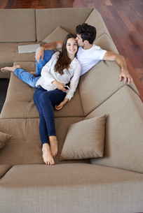 happy young romantic couple have fun and  relax at home indoorsの写真素材 [FYI00760207]