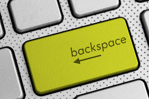 closeup shot of computer keyboard backspace buttonの写真素材 [FYI00760231]