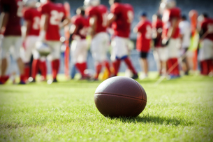 Close up on an american football ballの写真素材 [FYI00760504]