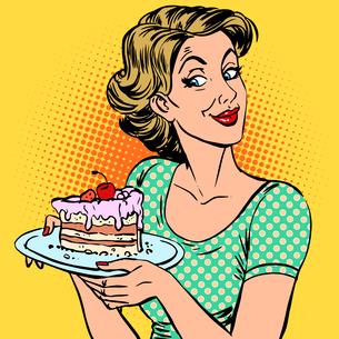 woman dessert cakeの写真素材 [FYI00760708]