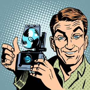 Photographer with retro camera hand gesture all is wellの写真素材 [FYI00760714]