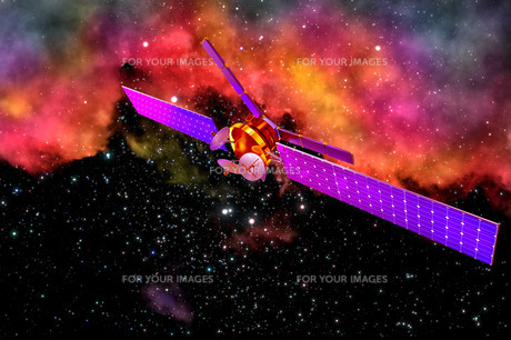 3D model of an artificial satellite of the Earthの写真素材 [FYI00760740]