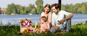 Family having picnic at lake sitting on meadowの写真素材 [FYI00760968]