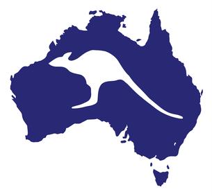 Australia Map With Kangaroo Silhouetteの写真素材 [FYI00760971]