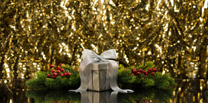 Silver present and Christmas tree branchesの写真素材 [FYI00761105]
