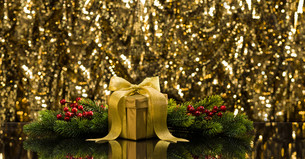 Gold present and Christmas tree branchesの写真素材 [FYI00761113]