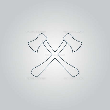 Two axes with wooden handles vector illustrationの写真素材 [FYI00761187]