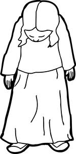 Outline Cartoon of Looking Shyの写真素材 [FYI00761297]