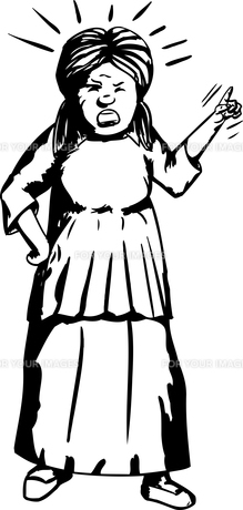Angry Woman Outline Illustrationの素材 [FYI00761311]