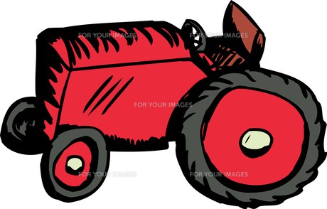 Single Red Tractorの写真素材 [FYI00761364]