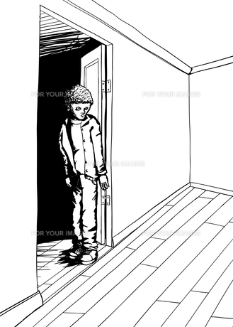 Outline of Skeptical Teen in Roomの素材 [FYI00761418]