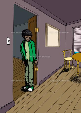 Teen in Room with Hardwood Floorsの素材 [FYI00761452]