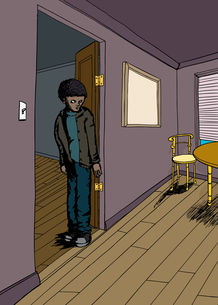 Teen with Scowl in Roomの写真素材 [FYI00761454]