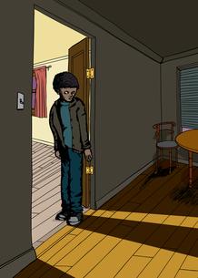 Shadow of Teen in Doorwayの写真素材 [FYI00761455]