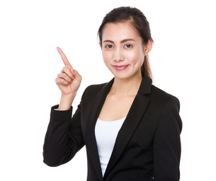 Young Businesswoman with finger point upの素材 [FYI00761766]