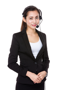 Businesswoman with headsetの写真素材 [FYI00761770]