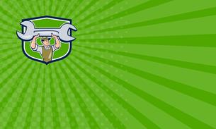 Business card Mechanic Lifting Spanner Wrench Shield Cartoonの写真素材 [FYI00761840]