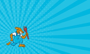 Business card Dog Plumber Running Monkey Wrench Cartoonの写真素材 [FYI00761844]