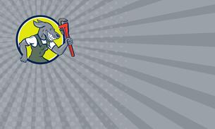 Business card Dog Plumber Running Monkey Wrench Circle Cartoonの写真素材 [FYI00761858]