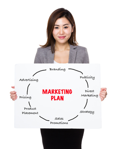 Businesswoman holding a poster presenting marketing plan conceptの素材 [FYI00761957]