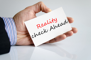 Reality check ahead Text Conceptの写真素材 [FYI00762446]