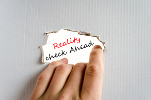 Reality check ahead Text Conceptの写真素材 [FYI00762448]