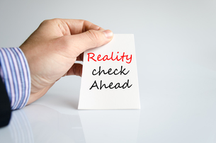 Reality check ahead Text Conceptの写真素材 [FYI00762449]