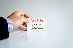 Reality check ahead Text Conceptの写真素材 [FYI00762455]