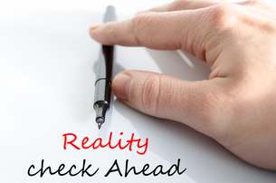 Reality check ahead Text Conceptの写真素材 [FYI00762467]