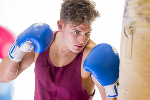 Attractive young man using a punching bagの写真素材 [FYI00762550]