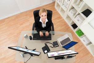 Businesswoman Analyzing Graph On Computerの写真素材 [FYI00763073]