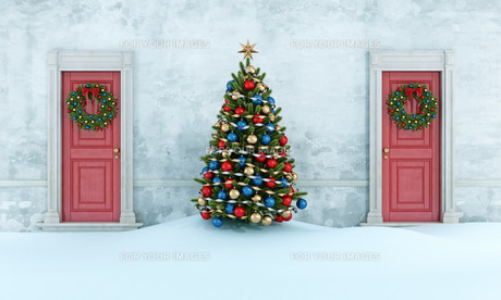 Old house with christmas treeの写真素材 [FYI00763438]