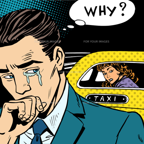 man weeps his woman is leaving by taxiの写真素材 [FYI00763473]
