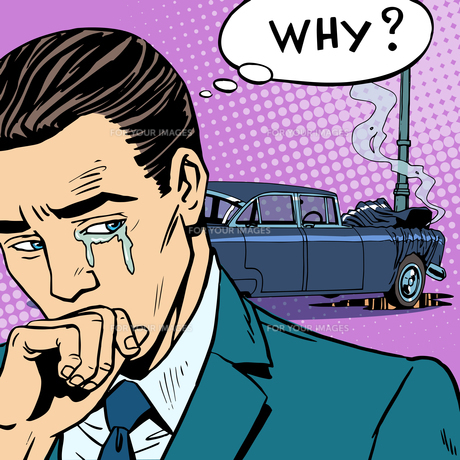 Man cries car accidentの写真素材 [FYI00763493]