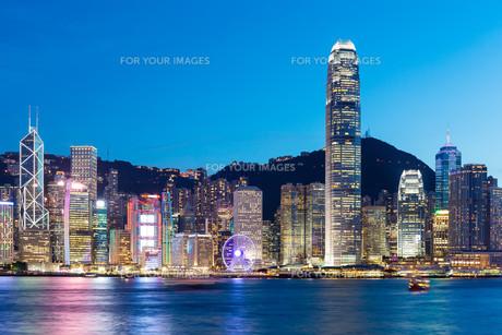 Hong Kong famous night viewの写真素材 [FYI00763697]
