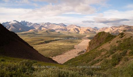 Valley and Mountains of the Alaska Denali Rangeの素材 [FYI00764250]