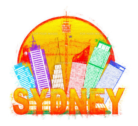 Sydney Australia Skyline Circle Color Impressionist Illustrationの写真素材 [FYI00764288]