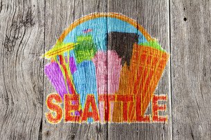 Seattle Abstract Skyline in Circle Wood Background Illustrationの写真素材 [FYI00764294]