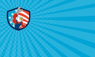 Business card American Bald Eagle Mechanic Spanner USA Flag Shield Cartoonの写真素材 [FYI00764436]