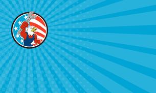 Business card American Bald Eagle Mechanic Spanner Circle USA Flag Cartoonの写真素材 [FYI00764441]