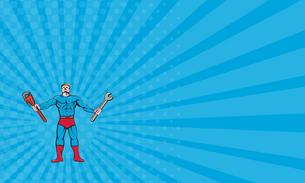 Business card Superhero Handyman Spanner Wrench Cartoonの写真素材 [FYI00764458]