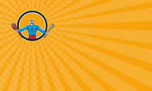 Business card Superhero Handyman Spanner Wrench Circle Cartoonの素材 [FYI00764462]