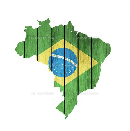 Brazilian Map With Wooden Flagの写真素材 [FYI00764884]